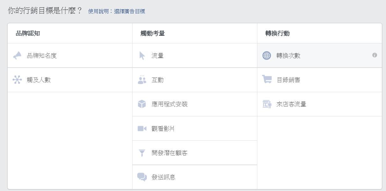 Facebook廣告管理員 - 行銷目標的定立